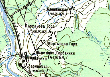карта с обозначением нежилых деревень.