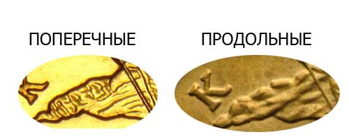 поперечные складки на монете