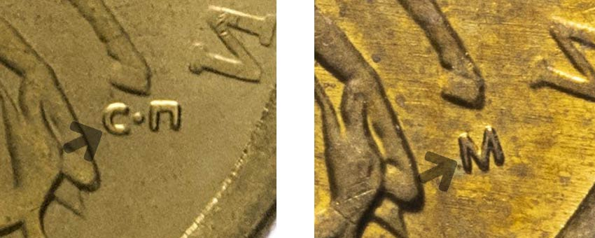 знаки на монетах М и СП