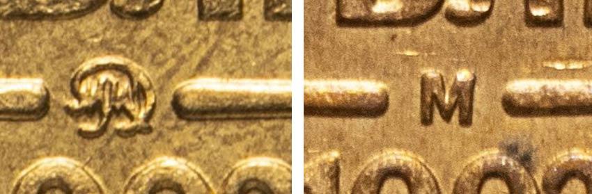 знак М и ММД на рублях